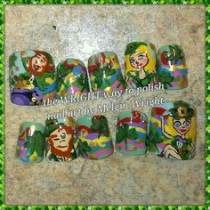 Saint Patrick's Day nail art!  Hand painted nail art. Painted with Nail polish and acrylic paint by Melgin Wright  http://www.facebook.com/TheWrightWayToPolishNailArtByMelginWright  http://pinterest.com/melginswright/boards/