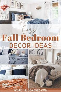 I've gathered a few cozy fall bedroom decor ideas that are simple + easy! Fall decorating is easily achieved with a few fall bedroom touches. Fall Bedroom Decor, Bedroom Decorating Tips, Fall Home Decor, Diy Home Decor, Bedroom Ideas, Decorating Ideas, Bedroom Inspo, Bedroom Inspiration, Cricut