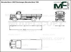 Mercedes-Benz L 3500 Pritschewagen (Mercedes-Benz) '1950 - blueprints (ai, cdr, cdw, dwg, dxf, eps, gif, jpg, pdf, pct, psd, svg, tif, bmp)