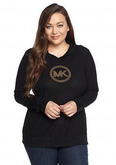 MICHAEL Michael Kors Plus Size Long Sleeve Waffle Logo Hoodie
