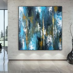 Blue Textured Abstract Painting-Modern Wall Art Extra Large image 2 Large Painting, Acrylic Painting Canvas, Canvas Art, Colorful Artwork, Colorful Paintings, Extra Large Wall Art, Large Art, Texture Art, Modern Wall Art