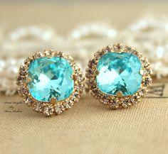 Blue Aquamarine Rhinestone stud earrings,Bridal jewelry,gift for woman - 14k very Thick plated gold earrings real swarovski rhinestones.