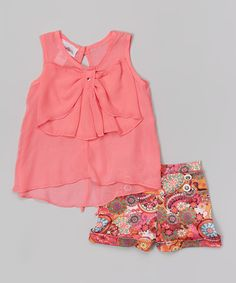 Look what I found on #zulily! Coral Bow Top & Floral Shorts - Toddler & Girls #zulilyfinds