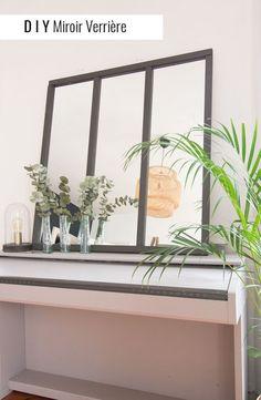 DIY miroir verrière | Une hirondelle dans les tiroirs Diy Interior, Interior Design, Diy Door, Ikea Hack, Modern Design, Sweet Home, House Design, Living Room, Mirror