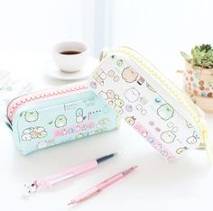 Keep your writing tools at hand with our pastel color Kawaii Sumikko Gurashi Pencil Case. It is made out of light but durable PU leather and features super adorable illustrations of Japanese Sumikko characters. Stationary School, Cute Stationary, School Stationery, Kawaii Stationery, Kawaii Pens, Kawaii Cute, Kawaii Stuff, Kawaii Gifts, Pencil Bags