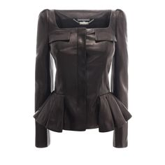 Pleated Leather Jacket Alexander McQueen | Leather | Jackets Coats |