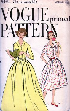 VOGUE 9491 Vintage 50's Sewing Pattern  PRETTY Misses by anne8865, $28.60
