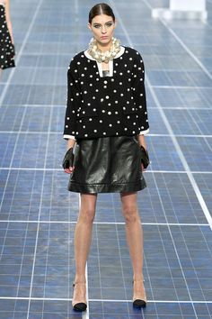 Chanel Spring 2013 RTW - Review - Collections - Vogue  polka dot sweater + leather skirt