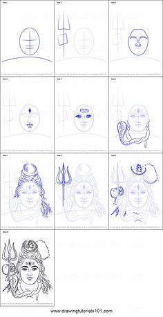 How to Draw Lord Shiva Face step by step printable drawing sheet to print. Learn How to Draw Lord Shiva Face Lord Shiva Painting, Ganesha Painting, Buddha Painting, Tanjore Painting, Arte Shiva, Shiva Art, Buddha Drawing, Buddha Art, Art Drawings Sketches Simple