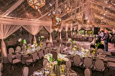 Clear Tent Reception | White, Silver, and Purple Modern Deco Wedding | Hotel Bel-Air