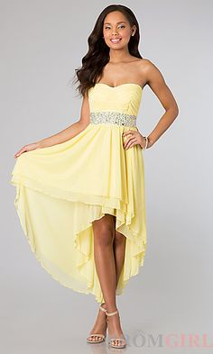 High Low Strapless Yellow Dress by As U Wish at PromGirl.com