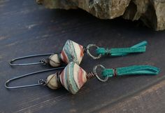 Crossing into Mexico -  OOAK artisan coral cream aqua lampwork river stone deerskin leather tassel south west earrings. by PreciousViolet on Etsy