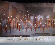 Όταν η ζωγραφική του Leonardo Da Vinci συνάντησε την ποίηση των φωτιστικών του Ingo Maurer.   Il Cenacolo installation at Spazio Krizia, Milano 2013 – Flying Flames by Ingo Maurer Ingo Maurer, Fashion Art, Interiors, Dark, Interior, Decorating, Deco