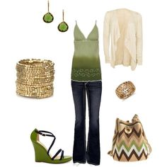 green, created by renae-671 on Polyvore