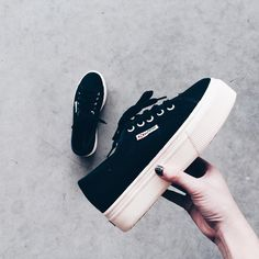 I got like these flatforms in dark blue color and I love them, super comfy and firm , high quality platform sneakers (y)