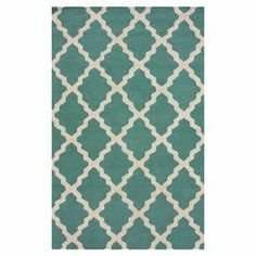 Hand-hooked wool rug with a Moroccan trellis motif in spa blue.   Product: RugConstruction Material: WoolColor: Spa blueFeatures: Handmade Note: Please be aware that actual colors may vary from those shown on your screen. Accent rugs may also not show the entire pattern that the corresponding area rugs have.