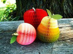 Vintage Honeycomb Paper Fruit