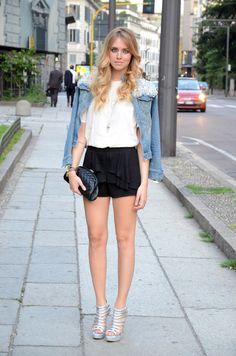 Denim jacket and shorts
