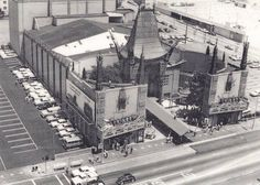 """aerial photo of Grauman's Chinese Theater, c. 1963. Movie, """"Irma la Douce"""" was playing and parking was no problem!"""