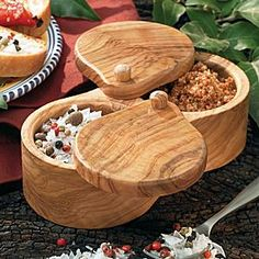 Olive Wood Salt and Spice Container...hope the hubby can find this in Spain