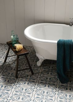 Ceramic Tiles from the Odyssey range by Original Style. Colours: Denim on Dover White / Dark Grey & Dark Jade on White / Light Grey & Light Blue on White / Dublin, Dark Blue & Dark Jade on White Finish: Matt Size: 151 x 151 mm Tiles and borders for floors and also walls inspired …