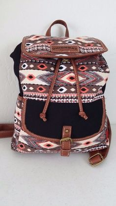 NWT UNIONBAY Multi-Color Geometric Small Backpack Brown/Black accents $48 #UnionBay #Backpack #ebay #UnionBay #Backpack