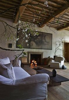 Axel Vervoordt rustic vintage flemish looking living room.  I can imagine Vermeer lounging here. #elegantmoderninteriordesign