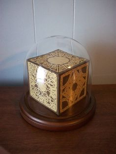 Hand Cut 3-D Paper Cutting Hellraiser Lament Configuration Puzzle Box in Glass Display Dome