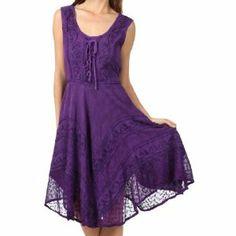 Sakkas Stonewashed Rayon Embroidered Mid Length Dress