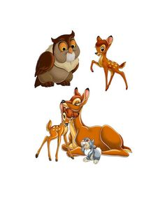 Bambi And Thumper Image,Bambi Cutout,Thumper Cutout,Flower Image,Flower Cutout,Owl Image,Owl Cutout,Bambi Mom Image,Bambi Mom Cutout,Bambi by ICreateAndCollect on Etsy