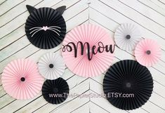 Meow, Kitty Cat, Pink and Black Set of 8 Paper Rosettes Meow Kitty Cat Pink and Black Set of 6 Paper Rosettes Kitten Party, Cat Party, Drunk Party, Cat Birthday, Birthday Parties, Graduation Party Games, Paper Rosettes, Paper Fans, Deco Table