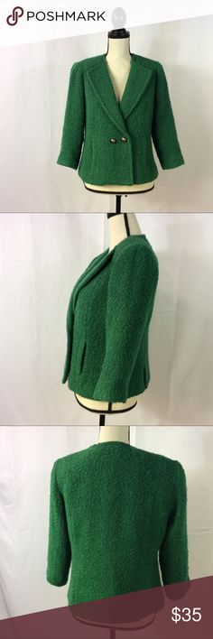 CAbi Ivy Green Wool Blend Jacket Blazer Cropped 8 In excellent preowned condition. CAbi Jackets & Coats