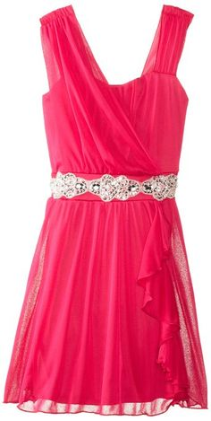 Amy Byer Jewel Waisted Dress with Ruffle Front Skirt, Pink
