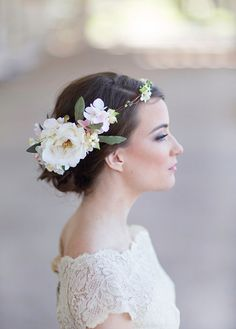 flower crown bridal headpiece cream floral crown by thehoneycomb