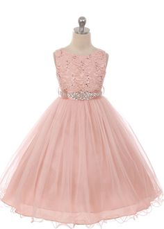 Blush Beautiful Lace Bodice with Tulle Skirt and Detachable Sash