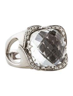 Charriol Rock Crystal Quartz and Diamond Ring