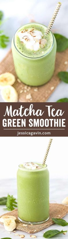 Super Green Smoothie with Matcha Tea- This easy smoothie recipe will energize you in an instant! A healthy blend of green tea, yogurt, almonds, banana, spinach and kale all in one delicious sip. via spinach detox smoothie Super Green Smoothie, Healthy Green Smoothies, Easy Smoothies, Breakfast Smoothies, Healthy Drinks, Healthy Food, Matcha Smoothie, Juice Smoothie, Smoothie Drinks