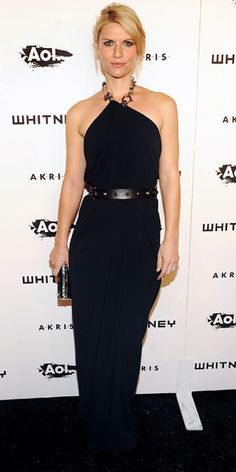 Claire Danes  WHAT SHE WORE  Danes wore a silk chain-link halter Lanvin gown with the designer's black leather wedges, studded belt and shell clutch to the Whitney Gala and Studio Party.