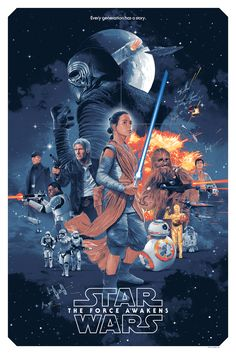 Star Wars: The Force Awakens was the biggest movie of 2015, and its success has led to a rejuvenation of the entire Star Wars franchise. Grzegorz Domaradzki a.k.a. Gabz, has partnered up with Bottleneck Gallery to bring you a new Force Awakens poster in the style of the classic posters from the original trilogy.    The poster features most of the main characters from the movie, including Rey, Finn, Kylo Ren, General Hux, Han Solo, and Chewbacca. It's so cool how the poster mimics the style