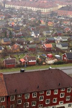 """Tiny Houses in Gothenburg, Sweden by Kent Griswold I have attached a picture over a part of our city built up with tiny houses of different designs. This type of building in this type of area are called """"kolonistuga"""" and the tiny houses are called """"koloniområde."""" This area was built way back to give hard working People in factories a chance to get recreation on vacation."""