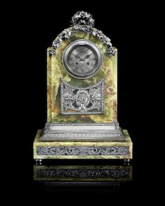 An impressive silver and hard stone mantel clockW.A. Bolin, Moscow, 1912-1917