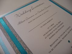 Silver and Turquoise colour themed wedding invitations