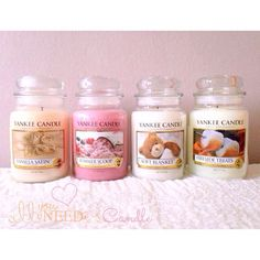 Yankee Candles - Vanilla Satin, Summer Scoop, Soft Blanket & Fireside Treats. Love the smell of these!