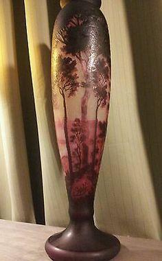 Monumental Emile Galle Art Nouveau Cameo Glass Vase