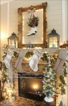 French Farmhouse Vintage Christmas Mantel From My Front Porch To Yours.open backed frame with lights around edge, skates, burlap ribbon, lanterns, greenery. Christmas Fireplace, Christmas Mantels, Noel Christmas, Christmas Lights, Christmas Decorations, Holiday Decor, Christmas Ornaments, Light Decorations, Christmas Stockings