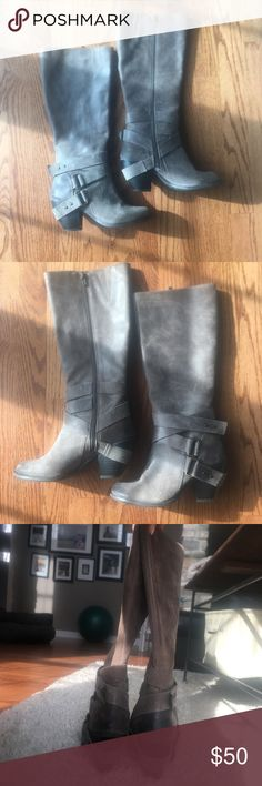 Fergie knee high leather boots. Barely worn leather knee high boots. Color is Grey/tan mix. Fergalicious Shoes