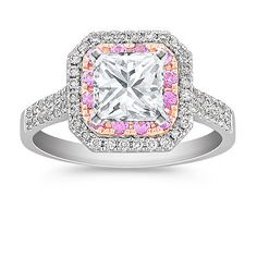 Halo Pink Sapphire and Diamond 14k White and Rose Gold Engagement Ring - This is the one!!! <3