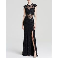 Mac Duggal Gown - Cap Sleeve Beaded Illusion Yoke ($660) ❤ liked on Polyvore