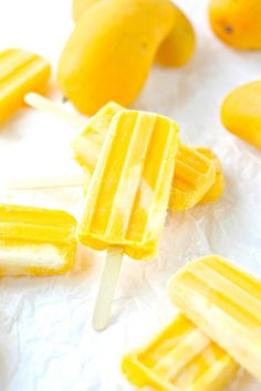 Mango Cream Popsicles-Only 2 ingredients with a dairy free and vegan option Mango Popsicles, Homemade Popsicles, Coconut Milk Popsicles, Mango Recipes, Ice Cream Recipes, Juicer Recipes, Detox Recipes, Salad Recipes, Frozen Desserts