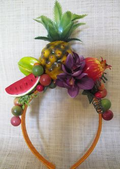 Tropical Fruits and purple orchids Headband  Carmen by olgadesigns